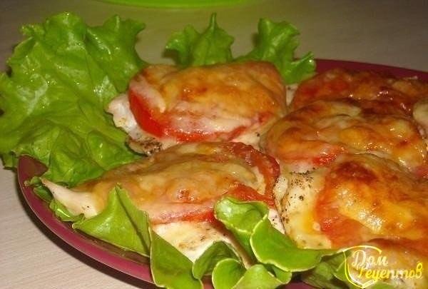 Куриное филе под сыром и помидорами пошаговый рецепт с