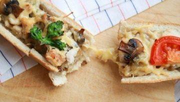 Багет фаршированный курочкой и грибами